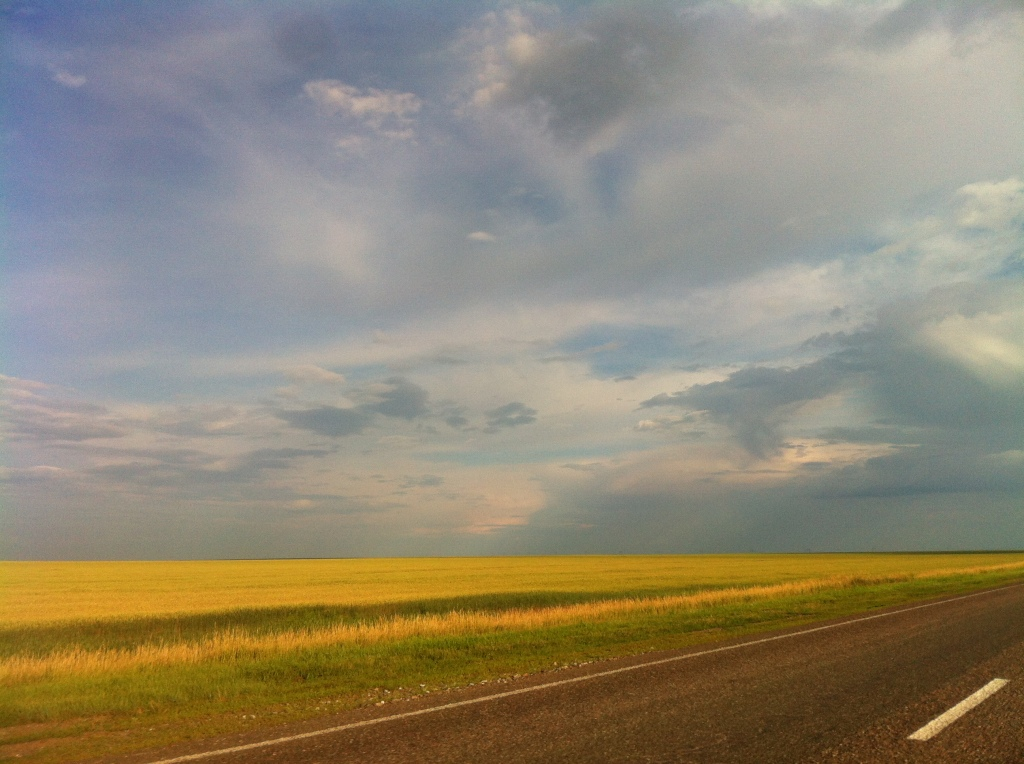 The view from the highway in Kazakhstan. We were moving pretty fast!