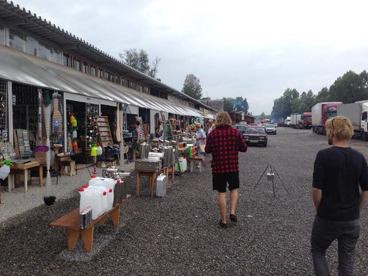 Exploring a roadside market in Russia.